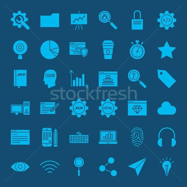 Website Development Glyphs Icons Stock photo © Anna_leni