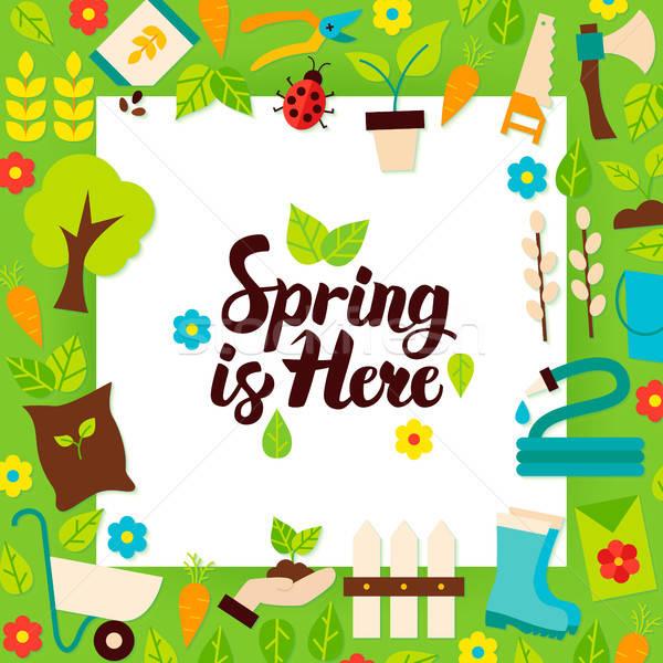 Wiosną tutaj papieru szablon stylu charakter Zdjęcia stock © Anna_leni