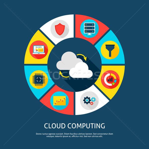 Felhő alapú technológia nagy adat infografika kör digitális Stock fotó © Anna_leni