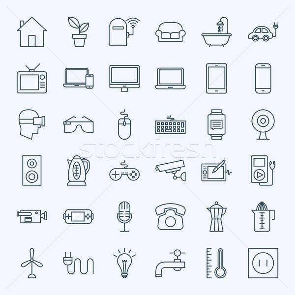 Line Household Appliance Icons Stock photo © Anna_leni