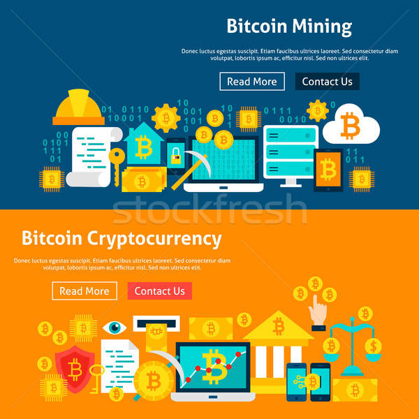 Bitcoin Cryptocurrency Website Banners Stock photo © Anna_leni