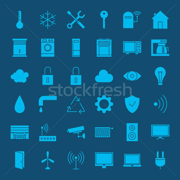 Smart home solide web icons vector ingesteld Stockfoto © Anna_leni