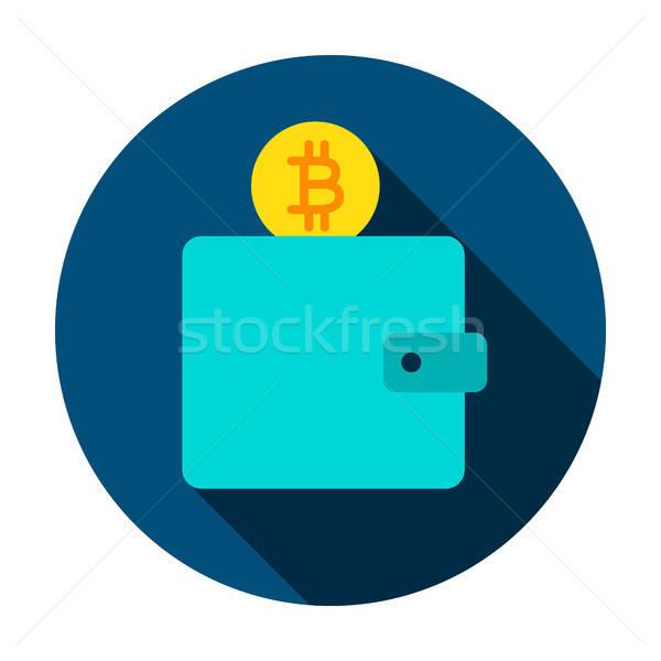 Bitcoin cüzdan daire ikon stil uzun Stok fotoğraf © Anna_leni
