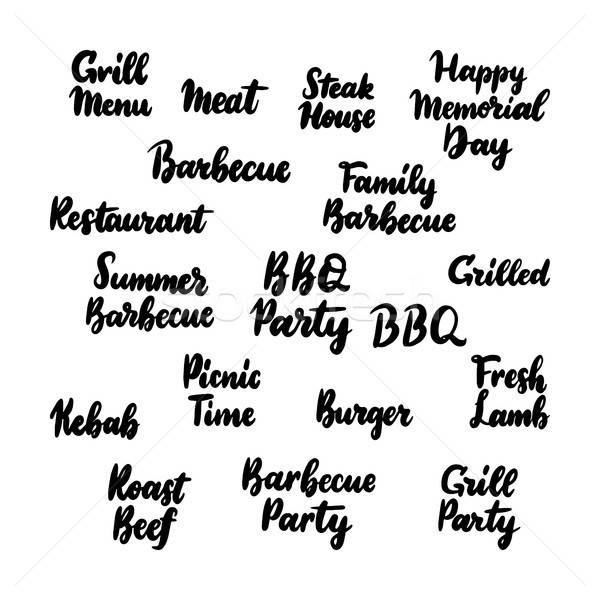 Barbecue Grill Handwritten Lettering Stock photo © Anna_leni