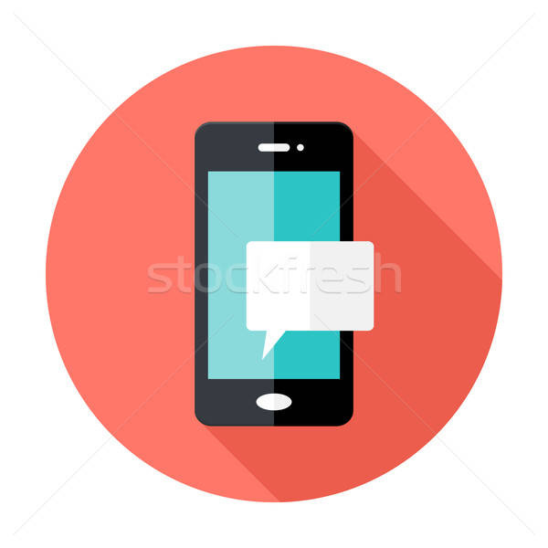 Smartphone Notification Flat Circle Icon Stock photo © Anna_leni