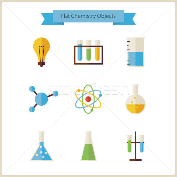Flat School Chemistry and Science Objects Set Stock photo © Anna_leni