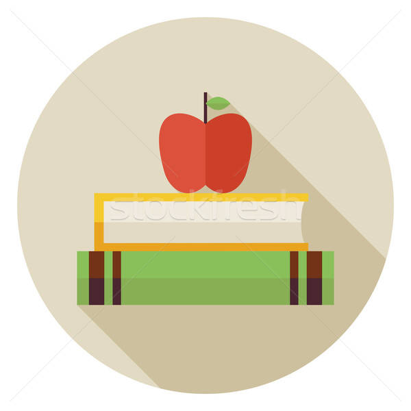 Flat Knowledge Book with Apple Circle Icon with Long Shadow Stock photo © Anna_leni
