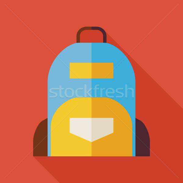Stock photo: Flat School Bag Illustration with long Shadow
