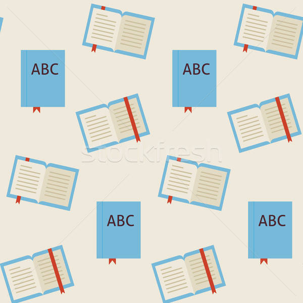 Flat Vector Seamless Pattern School and Library Reading Book Stock photo © Anna_leni
