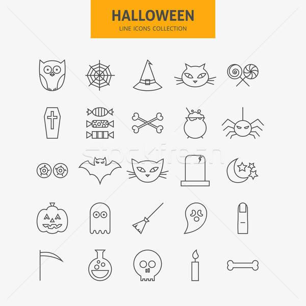 Stockfoto: Lijn · halloween · iconen · groot · ingesteld · vector