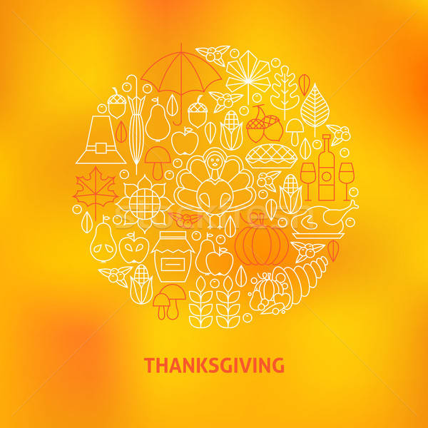 Thin Line Thanksgiving Dinner Holiday Icons Set Circle Concept Stock photo © Anna_leni