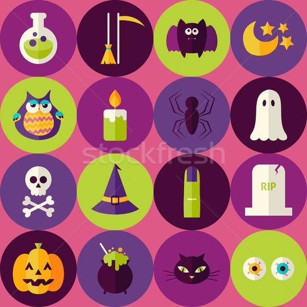 Flat Halloween Scary Witch Seamless Pattern with Colorful Circle Stock photo © Anna_leni