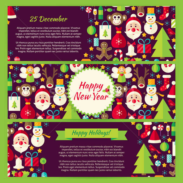 Happy New Year Winter Vector Template Banners Flat Set Stock photo © Anna_leni