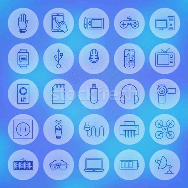 Line Circle Web Gadgets and Devices Icons Set Stock photo © Anna_leni