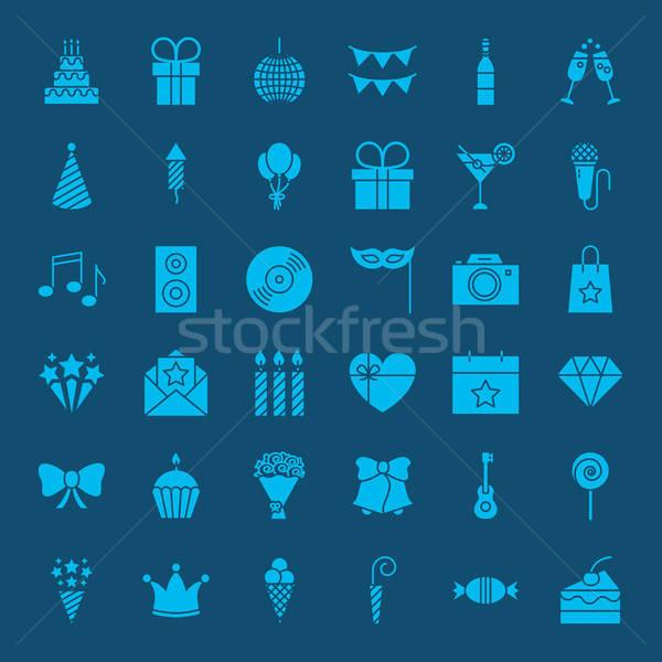 Birthday Glyphs Website Icons Stock photo © Anna_leni