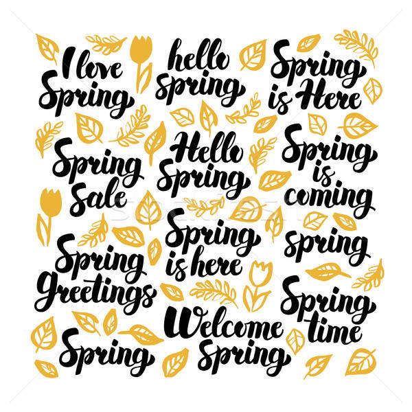 Hello Spring Handwritten Lettering Stock photo © Anna_leni