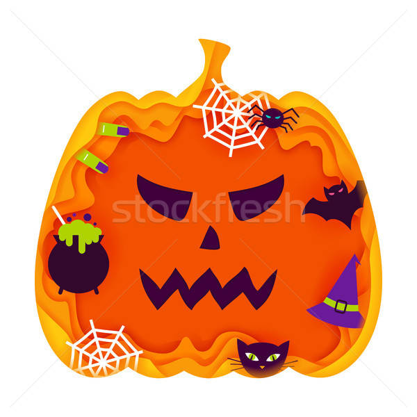Halloween Pumpkin Papercut Concept Stock photo © Anna_leni