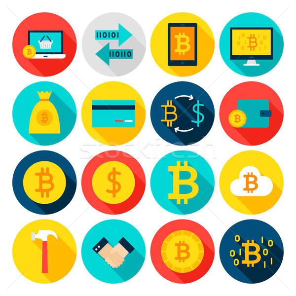Valuta bitcoin iconen cirkel financiële Stockfoto © Anna_leni