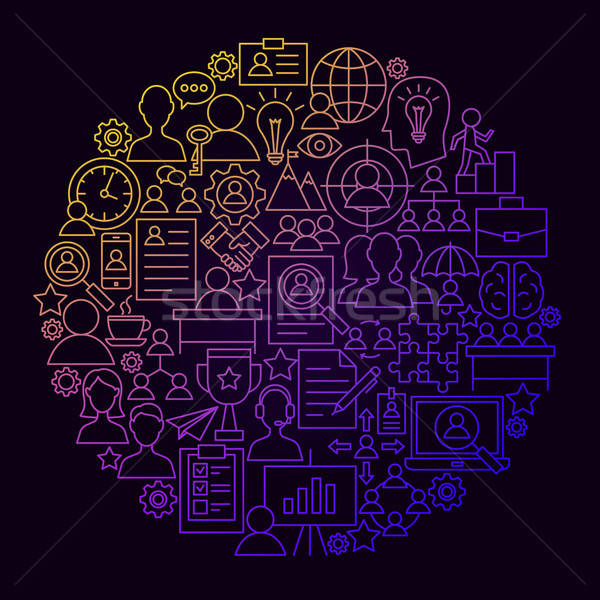 Humanos recursos línea icono círculo gestión Foto stock © Anna_leni