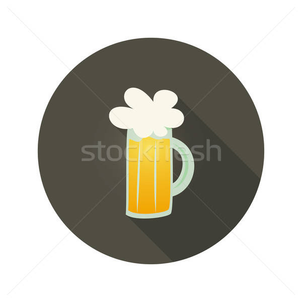 Oktoberfest beer glass mug circle dark brown icon Stock photo © Anna_leni