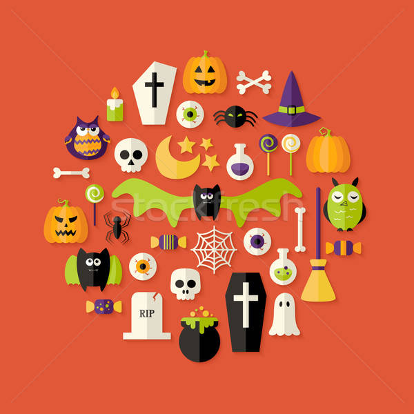 Stock photo: Halloween Flat Icons Set Over Red