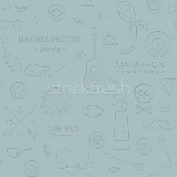 Marine doodle seamless hipster pattern Stock photo © Anna_leni
