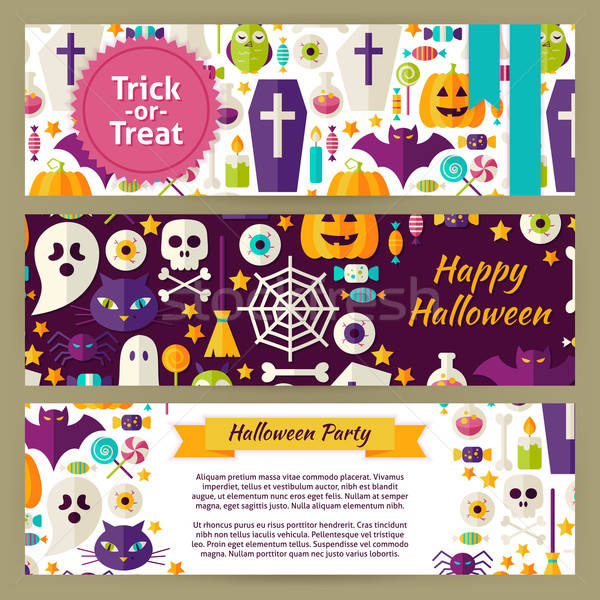 Trick or Treat Halloween Vector Template Banners Set in Modern F Stock photo © Anna_leni