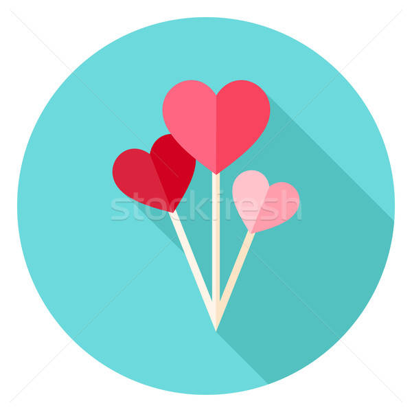 ストックフォト: バレンタイン · 日 · 中心 · 風船 · サークル