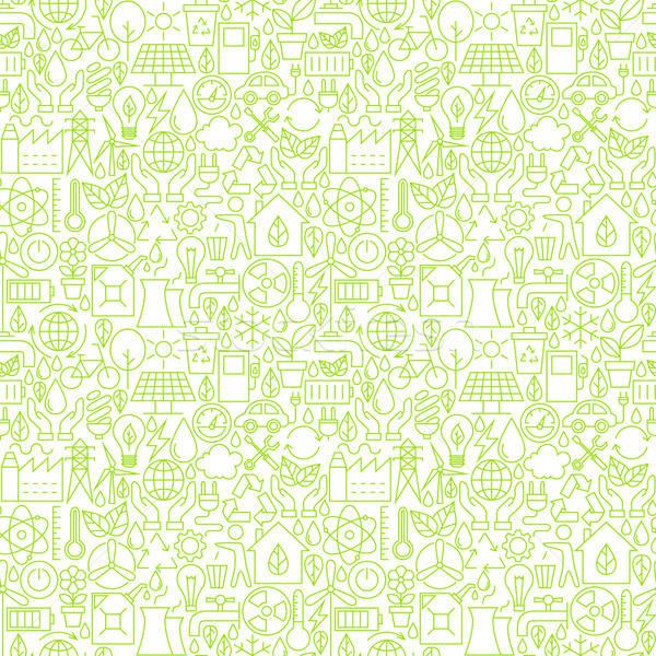 Thin Line Go Green Ecology White Seamless Pattern Stock photo © Anna_leni