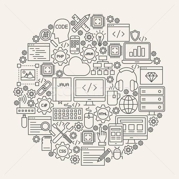 Programmazione line icone cerchio codifica risorse Foto d'archivio © Anna_leni