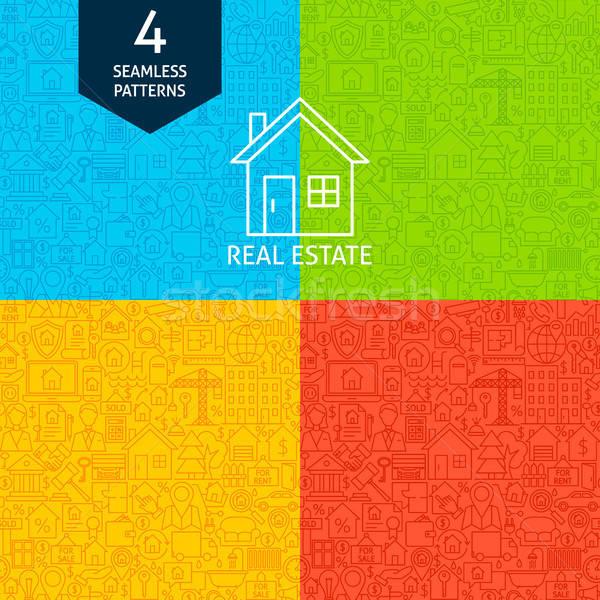 Vonal ingatlan minták négy vektor website design Stock fotó © Anna_leni