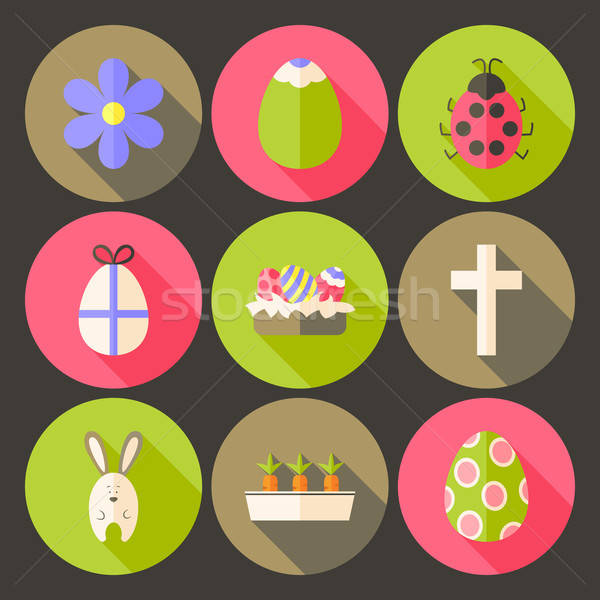 Easter flat styled circle icon set 7 with long shadow Stock photo © Anna_leni