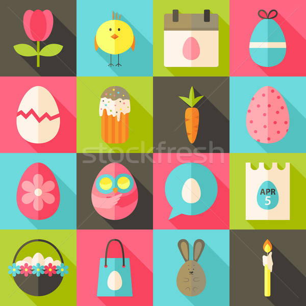 Easter flat styled icon set 2 with long shadow Stock photo © Anna_leni