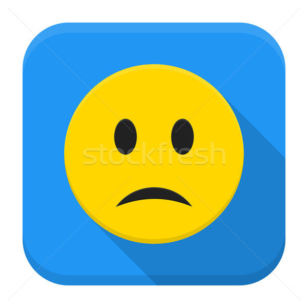 Sad yellow smile app icon with long shadow Stock photo © Anna_leni