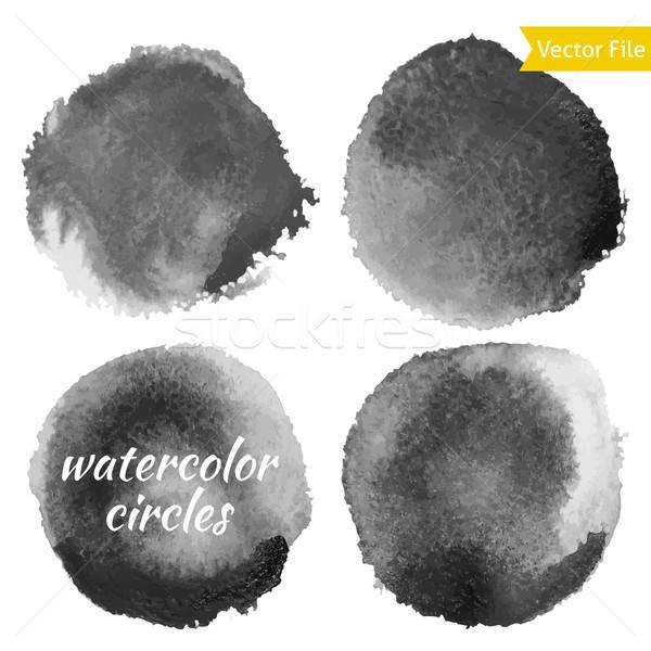 Dark Grey Watercolor Vector Circles Set Stock photo © Anna_leni