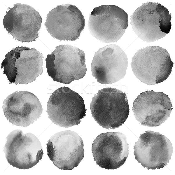 Stock photo: Watercolor Grey Circles Big Set