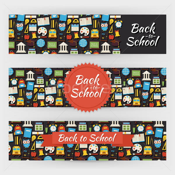Back to School Knowledge and Education Vector Template Banners S Stock photo © Anna_leni