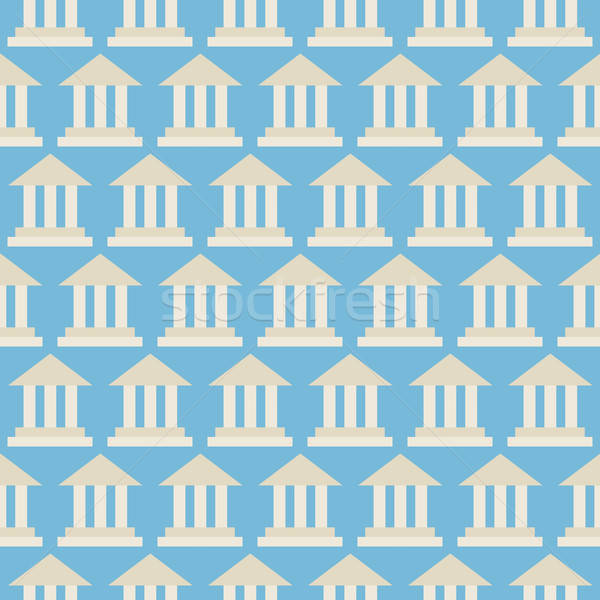 Flat Vector Seamless Pattern Government School Bank Building Stock photo © Anna_leni