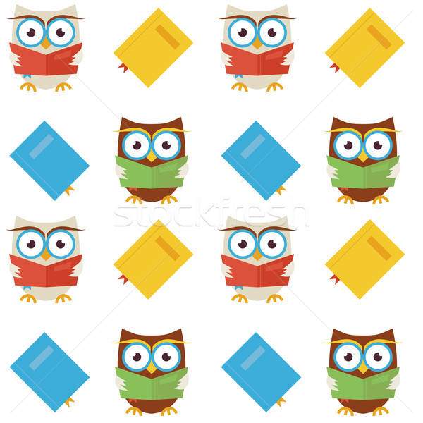 Flat Vector Seamless Pattern Wisdom and Knowledge Owls Reading B Stock photo © Anna_leni