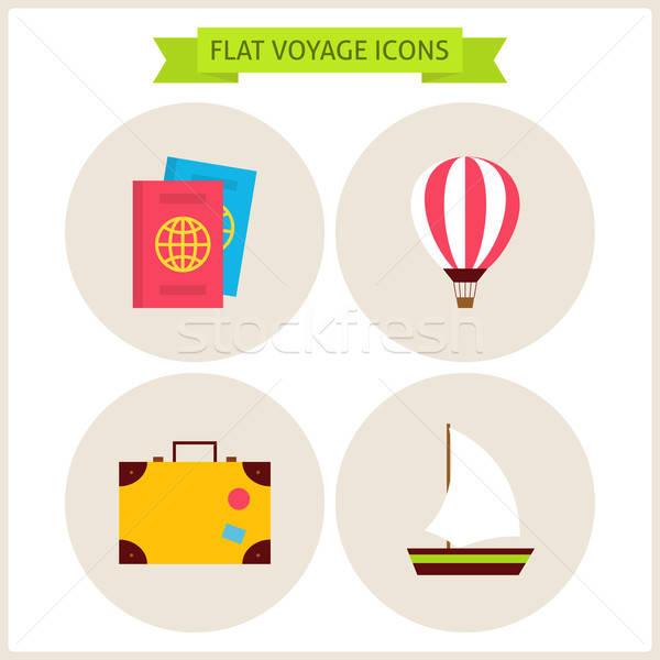 Flat Voyage Website Icons Set Stock photo © Anna_leni
