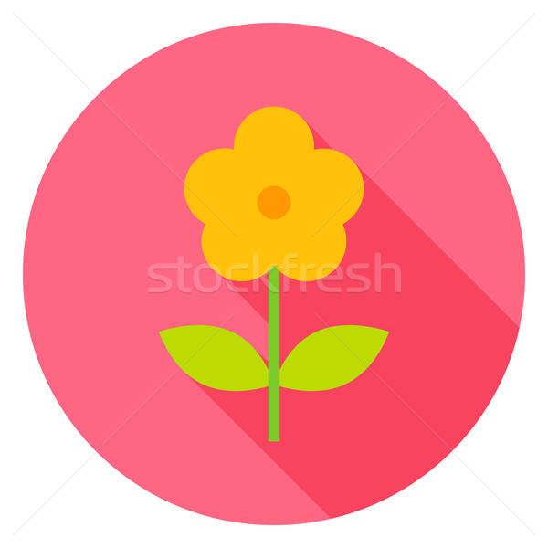 Gelbe Blume Kreis Symbol Design lange Schatten Stock foto © Anna_leni