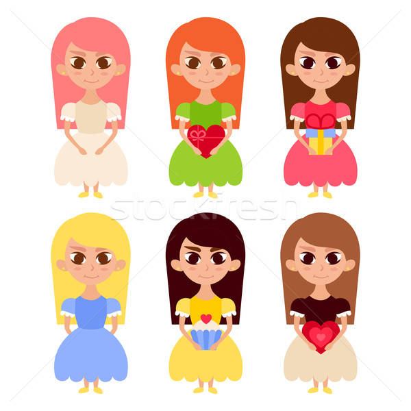 Stock photo: Cute Girls in Dresses with Lovely Hearts