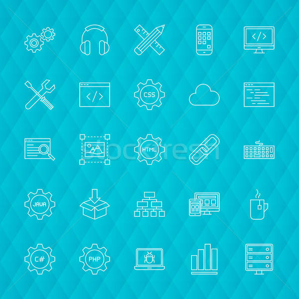 Programação linha ícones símbolos negócio Foto stock © Anna_leni