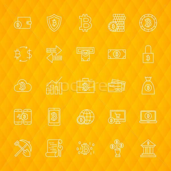 Bitcoin линия иконки бизнеса компьютер Сток-фото © Anna_leni