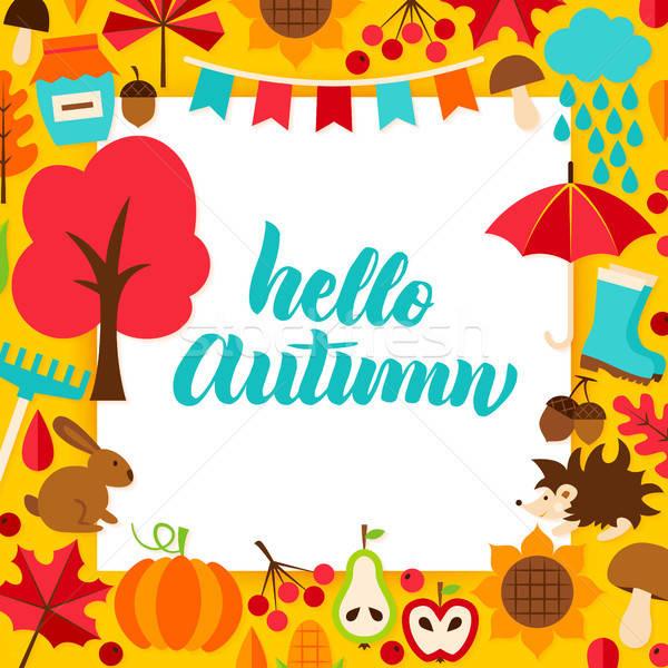 Hola otono papel temporada de otoño árbol alimentos Foto stock © Anna_leni
