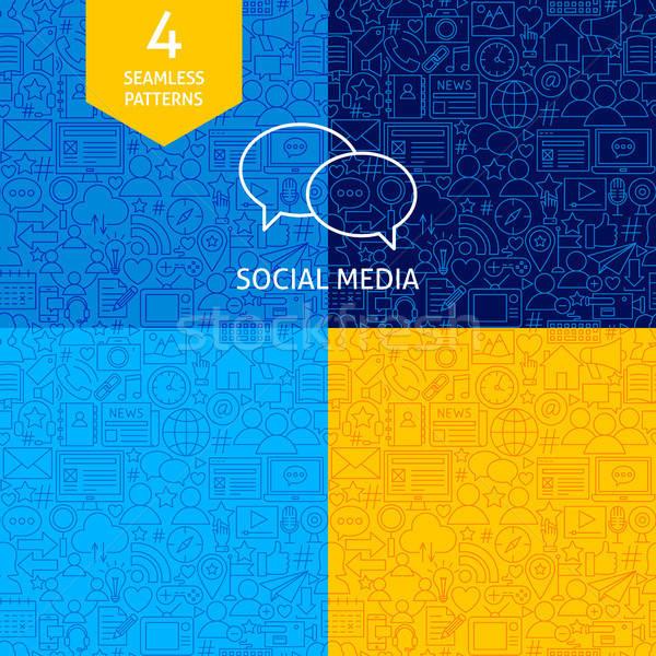 Vonal közösségi média minták négy vektor website design Stock fotó © Anna_leni