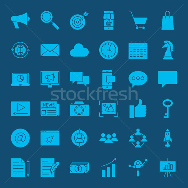 Digital Marketing Glyph Web Icons Stock photo © Anna_leni
