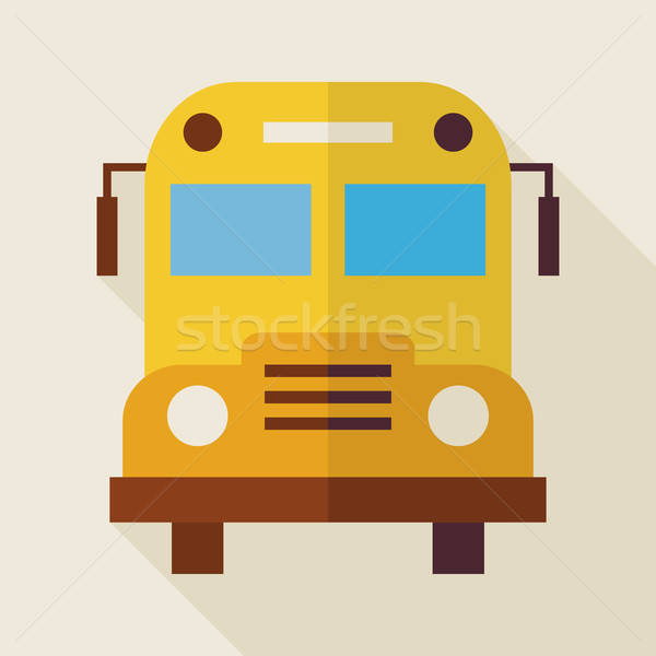 Flat School Bus Illustration with long Shadow Stock photo © Anna_leni