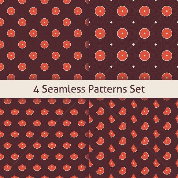 Four Vector Flat Seamless Music Vinyl Disc Patterns Set Stock photo © Anna_leni