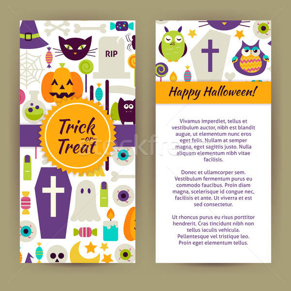 Stock photo: Vector Flyer Template of Flat Design Happy Halloween Objects and